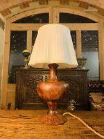 Handmade English Solid Burr Walnut Table Lamp, Art Deco, Classical Vintage