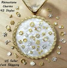 10/20Pcs 42 New 3D Nail Art Gold Metal Rhinestones Pearl Ring Bow Ribbon Charms