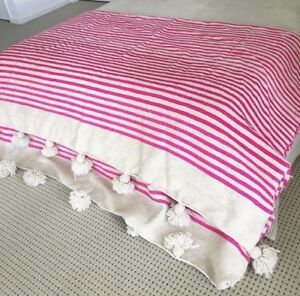 "Moroccan Handmade Wool Pom Pom Throw Blanket IVORY/PINK 118"" X 78"""