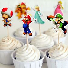 Mario Brother Cupcake Toppers/Food Picks Party Decorating Favor Set of 24,