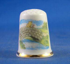 Birchcroft China Thimble -- Winnie the Pooh on Bridge -  Free  Gift Box