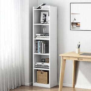 Corner Thin Home Storage Cabinet Display Bookcase Bookshelf Cubes Shelving White
