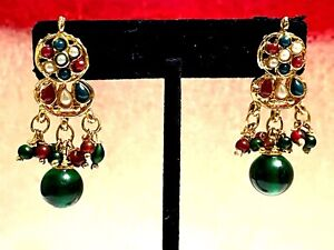 """Vintage Indian Wedding Earrings Green Glass Beads Gold Tone 1 3/4"""""""
