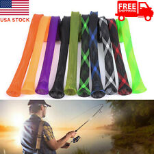 10Pcs 170Cm Fishing Rod Sock Covers Braided Mesh Spinning Rod Protector Sleeves