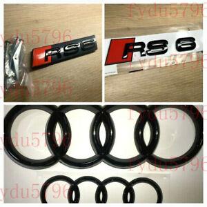 Genuine Style Gloss Black RS6 Front Rear Emblem Badge Full set for Audi RS 6