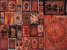 Indian Cotton Small Orange Tapestry Poster Textile Table Cloth Wall Hanging Art