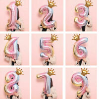 32 Decoration inch Crown Number Foil Balloon Digit Ballon Happy Birthday Party