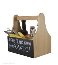 Wooden Cutlery Sauce Condiment Holder Caddy With Chalkboard 4 Compartments