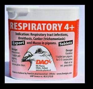 Dac Respiratory 4+ 50 tabs 5 in 1 tablets Racing Pigeons Birds Poultry Hen Chick
