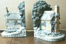 Great Vintage Stone Bookends Thatched Cottage Shaped