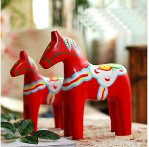 Swedish Wood Dala Horse Handpainted Horse Figurine Sculpture Folk Art Home Decor