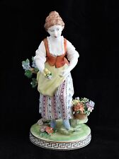 Antique Carl Thieme Dresden Porcelain GIRL WOMAN with Tulips Flowers Figurine