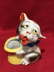 Vintage Rare Ceramic Cat Planter Hand Painted Japan Begging White Kitty Top Hat