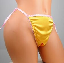 yellow and pink shiny satin ONE Size tie side ruffle sissy mens string bikini