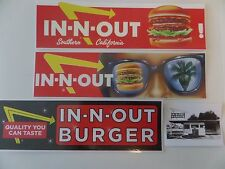 IN-N-OUT BURGER VINTAGE STICKERS**, SET OF 3, DOUBLE-DOUBLE, SUNGLASSES, QUALITY