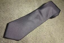 Silk Tie Narrow Vintage Oleg Cassini By Burma Chocolate Brown Silver Dots