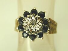 Diamond & Sapphire cluster ring vintage 9 carat gold size M dated 1993 3.7 grams