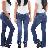 SOTALA Damen Schlaghose Bootcut Flared Stretch Hüft Jeans Hose 5 Pocket Blau