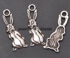30pcs Tibetan Silver Charms Bunny/Rabbit Pendant DIY Jewelry 25x9mm A3129