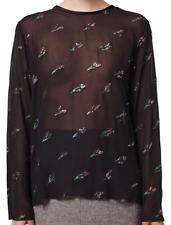 TOPSHOP Embellished Silk Sheer Top Black US 2, EUR 34 NWT $135