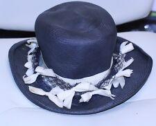 vtg 1960 womens Hat kurt original navy brim ivory bows/ribbon navy net band