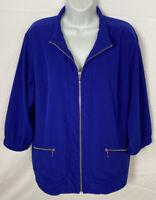 Chico's Zenergy Women's Jacket Size 3 Full Zip W/zipped Pockets Sz XL Blue EUC