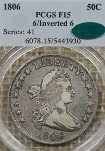 1806/Inverted 6 50 PCGS F15 CAC Early Draped Bust Half Dollar