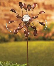"39""H Double Spoon Metal Solar Light Wind Spinner Outdoor Garden Yard Stake Decor"