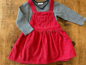 Baby Girl 9-12 months NEXT Red Corduroy Pinafore Dress Outfit Excellent Combine