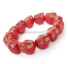 Red Howlite Turquoise Skull Mala Bracelet Tibet Buddhist Prayer Beads