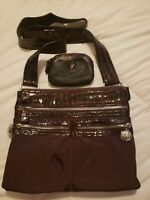 Brighton Nylon Embossed Patent Leather Crossbody Purse Brown Very Good
