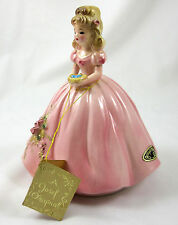 Josef Original Girl Figurine Robins Nest Pink Dress Vintage Japan Sticker Tag