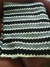 AFGHAN CROCHET USA STRIPE 70'' X 40'' BLANKET HAND MADE TROW BED COUCH