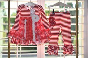 Serendipity Girls Christmas Holly 3 Piece Dress Legging Headband Set Size 3T Nwt
