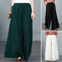 Womens Elastic Waist Casual Loose Culottes Trousers Wide Leg Baggy Palazzo Pants