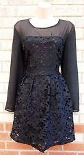 Lace Long Sleeve Floral Skater Dresses