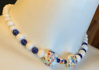 Vintage White Confetti Blue Glass Bead Necklace GREAT COND! 15""