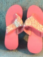 NOS AVON WEDGE SANDAL PINK CORK LIKE MATERIAL WITH WHITE SEQUINS SIZE MM (7-8)