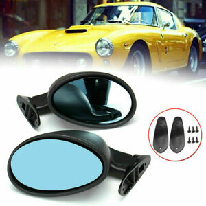 2X Universal Classic Car Door Wing Side Rear View Mirror & Gaskets Matte Black