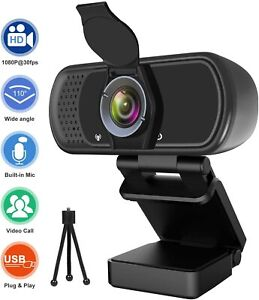 1080P HD Webcam & Microphone, Privacy Cover, Tripod- 30FPS Streaming, 110° Angle