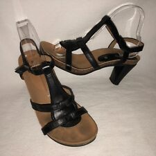 Gabor Jollys Women's Size 38 Black Leather T-Strap Cork Outsole Heeled Sandal