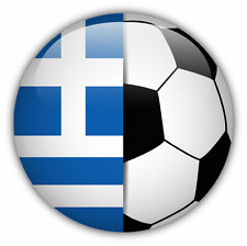 "Greece Flag Soccer Ball Car Bumper Sticker Decal 5"" x 5"""