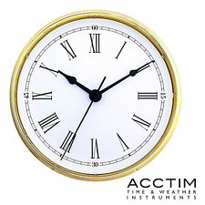 Insertion Clock 70mm Quartz Acctim Gold bezel white Roman Dial