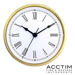 Insertion Clock 160mm Quartz Acctim Gold bezel white Roman Dial