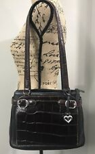Brighton Leather Handbag Black Brown Embossed Shoulder Buckle Bag Purse