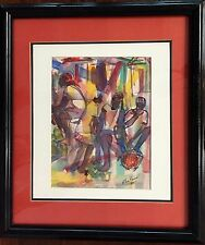 ORIGINAL Water Color Naif painting signed by Haitian Artist Wilner Pierre FRAMED