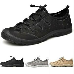 Mens Outdoor Climbing Trainers Combat Low Top Hiking Espadrilles Lace Up Shoes