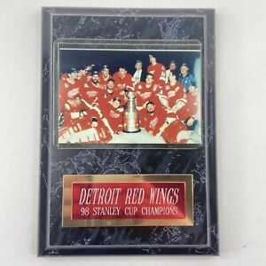"""Detroit Red Wings Vintage 1998 Stanley Cup Champions Black Marble Plaque 7"""" x 5"""""""