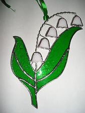 STAINED GLASS LILY OF THE VALLEY, anniversaire fleur de mai, Suncatcher, handmade