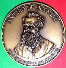 Portuguese Poet / Writer/ Art/Antero De Quental /Big Bronze Medal By Alves AndrÉ